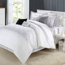 amazoncom chic home grace 8 piece comforter set queen white home kitchen chic white home