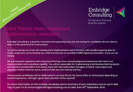 hiring application consultant embridge consulting application consultant erp agresso u4bw role