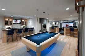 pool table design ideas basement contemporary with light wood metal accents basement sports bar ideas
