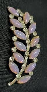 <b>Vintage Faux OPALS</b> Rhinestones Open Back FEATHER <b>LEAF</b> PIN ...