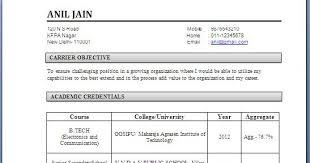 Fresher Resume Sample Format Ms Word In India  sample resume in