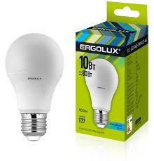 <b>Лампочка Ergolux LED</b>-<b>A60</b>-<b>10W</b>-E27-4K, Холодный свет 10 Вт ...
