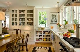 kitchen transformation farmhouse eat in kitchen idea in burlington with a drop in sink open cabinets spacious eat kitchen