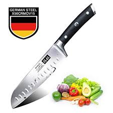 SHAN ZU <b>Santoku Knife 7 Inches</b> German High Carbon Stainless ...