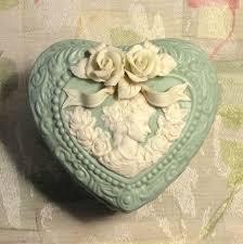 <b>Vintage Trinket</b> Box Cameo Mint Green Heart Shape 2 Piece ...