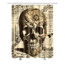 <b>Vintage Floral Skull</b> Halloween Shower Curtain Black Skull ...