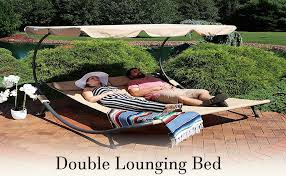 Sunnydaze Double Chaise <b>Outdoor Lounge Bed with</b> Canopy and ...