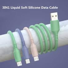 <b>3в1</b> жидкостный мягкий силиконовый <b>USB Type C кабель Micro</b> ...