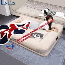 <b>Intex</b> Pillow Rest <b>Mid Rise Airbed</b> Deluxe Inflatable Bed With Built in ...