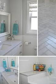 bathroom features gray shaker vanity: like the treatment of the backsplash white and gray bathroom with subway tile herringbone carrara marble floors and silestone lagoon countertops