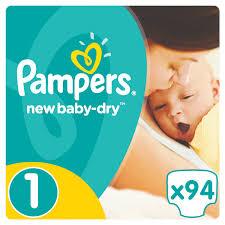 <b>Pampers Подгузники New Baby-Dry</b> 2-5 кг (размер 1) 94 шт ...