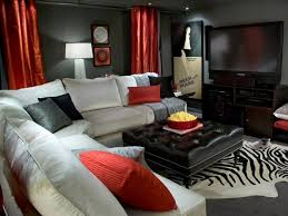wall color black living room furniture ideas sharp accents fur carpet black and red furniture