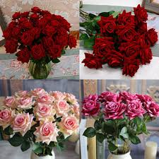 <b>1 Pc Beautiful Artificial</b> Fake Rose Flower with Leaf Wedding Party ...