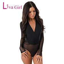 <b>Liva Girl</b> Sexy <b>Black Sheer</b> Mesh Plus Size Bodycon Bodysuit ...