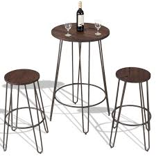 <b>3 pcs</b> Wood Round Bar Table Bistro Stool Set - <b>DIY</b> 12 Cube Grid Wire