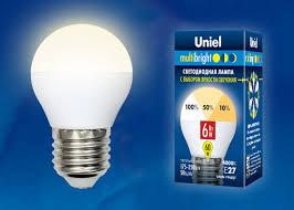 <b>Лампа</b> светодиодная <b>Uniel LED</b>-<b>G45</b>-<b>6W</b>/<b>WW</b>/<b>E27</b>/<b>FR</b>/MB