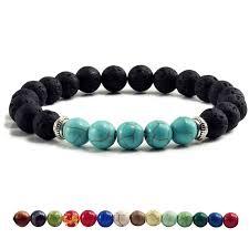 <b>Natural</b> Volcanic Stone Bracelets Charm Women Chakra Balance ...