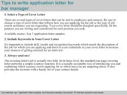 3 tips to write application letter for bar manager bar manager cover letter