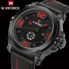 Top Luxury Brand Naviforce Mens Sport <b>Watches</b> Leather Quartz ...