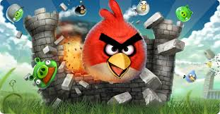 red angry bird crashes through castle