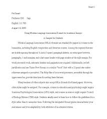 mla format essay mla writing style sample papers mla format mla how to write an mla format essay