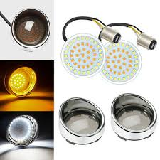 """<b>2</b>"""" <b>Bullet 1157 LED</b> Turn Signal Light Visor-Style Bezels Lens Fit For ..."""