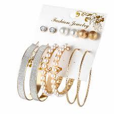 New <b>6 Pairs/set Vintage</b> Dangle Big Circle Hoop Earrings Women ...