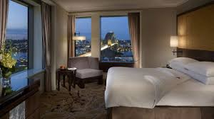 1550 a night bedroom of the executive grand harbour view suite at the shangri airbnb sydney