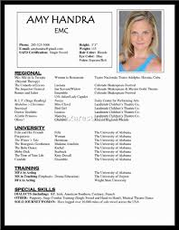 resume template part  acting resume examples for beginners