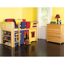 bedroom endearing wooden short loft bed ideas design for kids using three tone bedding set and yellow blue and red tent and shelves and fabric baskets plus bedroom kids designs bunk