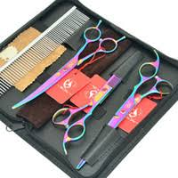 3pcs bag 8 0inch jp440c professional golden pet grooming scissors shears straight thinning curved lzs0419