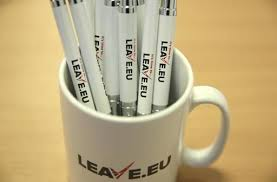 previous branded merchandise is seen in the office of pro brexit group pressure group leave branded merchandise office