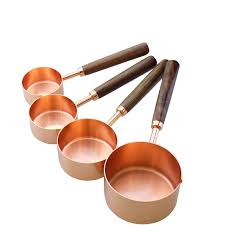 <b>Walnut</b> Wooden <b>Handle Copper Plating</b> Measuring Cups Spoon Set ...