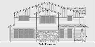 Craftsman Duplex House Plans  Luxury Duplex House PlansHouse side elevation view for D  Craftsman duplex house plans  luxury duplex house