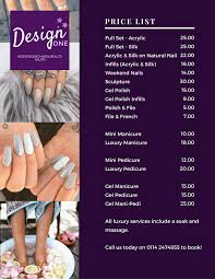 beauty salon in halfway sheffield design one nail art manicure and pedicure price list for design one in halfway sheffield near crystal