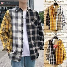 <b>2019 New</b> & Hot Fashion Tricolor Splicing Unisex Coat <b>Plaid Shirt</b> ...
