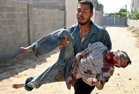 father carrying dead son
