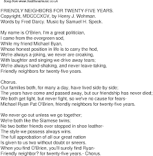 old time song lyrics for friendly neighbors for twenty five years music lyrics as png graphic file