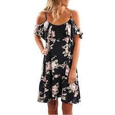 Janly® <b>Women Summer</b> Floral Ruffles Dress <b>Off Shoulder</b> Strappy ...