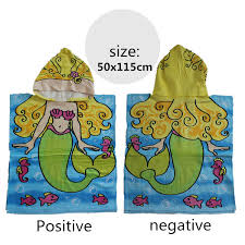 Yellow Mermaid Children Cartoon Cotton Towels Printed Hooded Pullovers Beach Bathrobes Bath
