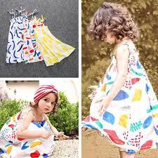 <b>2019 Summer girls clothing</b> baby girl dress sleeveless strap graffiti