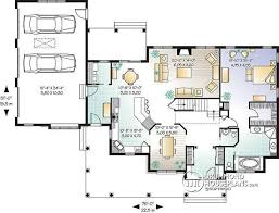 House plan W detail from DrummondHousePlans com    st level to bedroom Ranch style home   open floor plan and