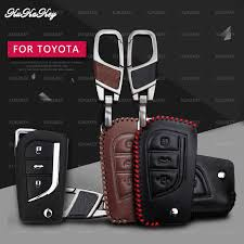 <b>KUKAKEY Leather</b> Car Key Case Cover For Toyota Hilux Corolla ...