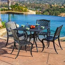 patio dining: best selling home decor hallandale  piece black sand aluminum patio dining set