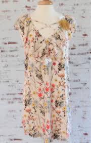 Beige Floral Criss Cross Dress <b>DT20</b> – MariLuLu's Boutique