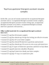 top 8 occupational therapist assistant resume samples in this file you can ref resume materials occupational therapy cover letter