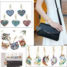 4/<b>5pcs</b> 5d <b>Diy Diamond Painting</b> Keychain owl Unicorn heart full ...