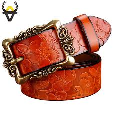Fashion <b>Wide Genuine leather</b> belts for women <b>Vintage</b> Floral Pin ...