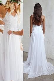 Spaghetti Strap V-neck <b>White</b> Lace Appliqued <b>Beach Wedding</b> ...