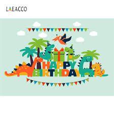 <b>Laeacco Cartoon Jungle Dinosaur</b> Party Baby Birthday Photography ...